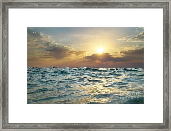 Wave On Sunset. Nature Composition Framed Print by Djgis