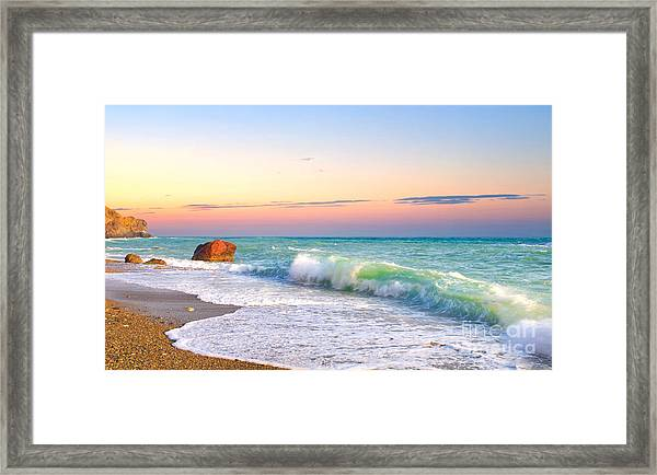Waves And Sky During Sunset Framed Print