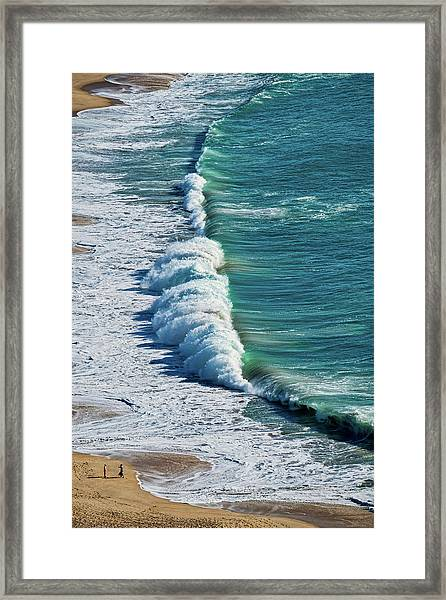 Waves At Nazare Beach - Portugal Framed Print