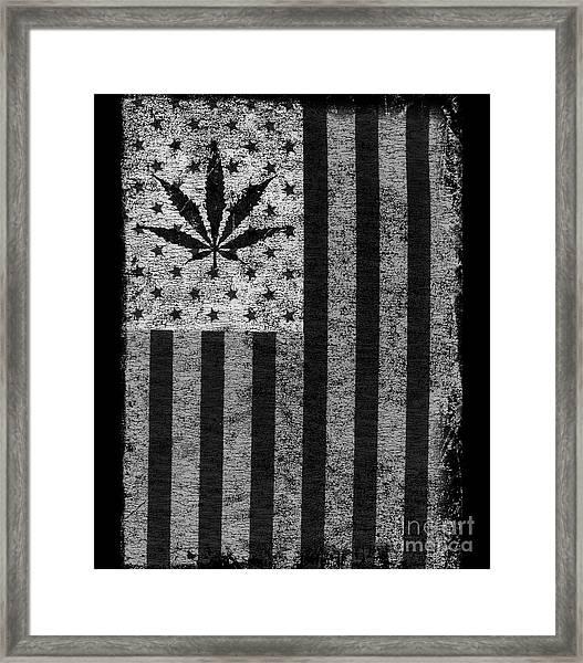 Weed Leaf American Flag Us Framed Print