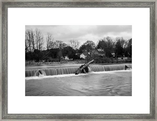 Wehr's Dam - Black And White Framed Print