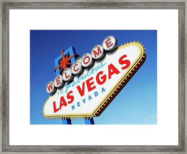 Welcome To Las Vegas Sign, Low Angle Framed Print