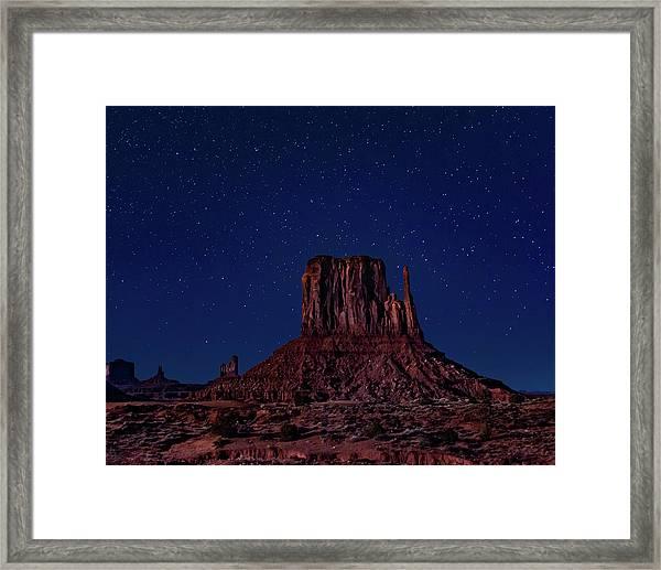 West Mitten Under The Night Sky Framed Print