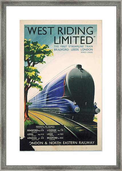 West Riding Limited, Lner Poster, 1938 Framed Print