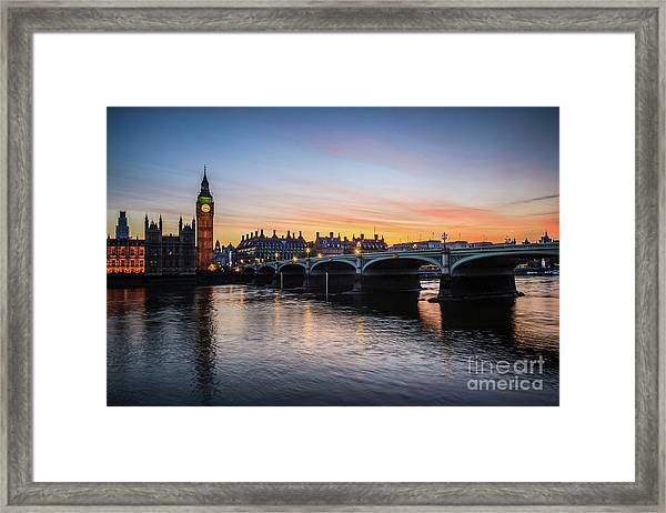 Westminster Sunset Framed Print