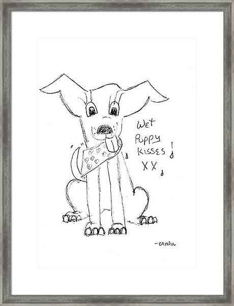 Wet Puppy Kisses Framed Print