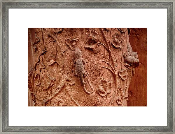 Whimsical And Lifelike Carvings On Heidelberg Castle Framed Print