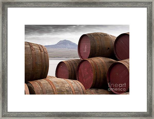 Whisky Barrels On Islayview Over To Framed Print