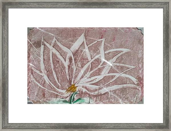 White Abstract Floral On Silverpastel Pink Framed Print