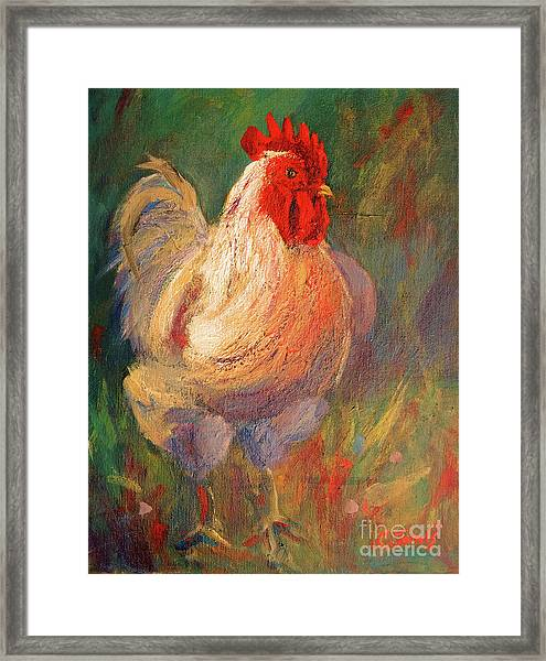 White And Red Chicken Against Green Framed Print