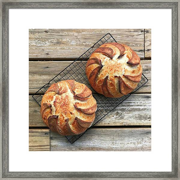 Framed Print featuring the photograph White And Rye Sourdough Swirls by Amy E Fraser