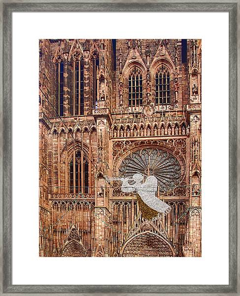 White Angel Decorations On Shops At The Christmas Market Framed Print