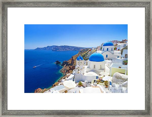 White Architecture Of Oia Village On Framed Print by Patryk Kosmider