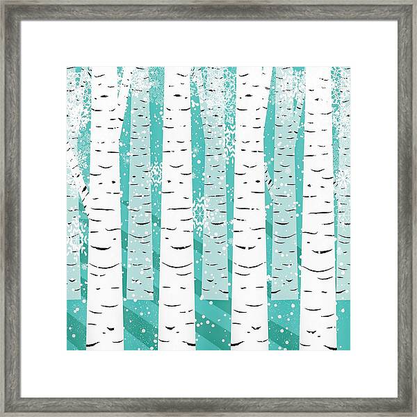 White Birch And Snow Framed Print
