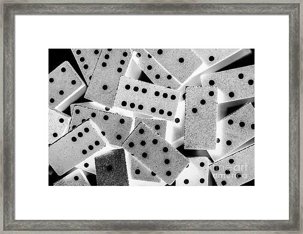 White Dots Black Chips Framed Print