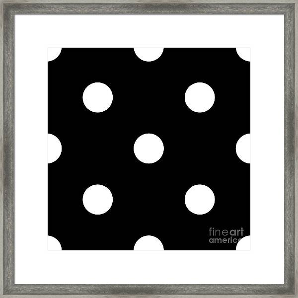 White Dots On A Black Background- Ddh612 Framed Print