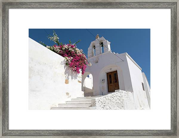 White Greek Church And Bougainvillea Framed Print