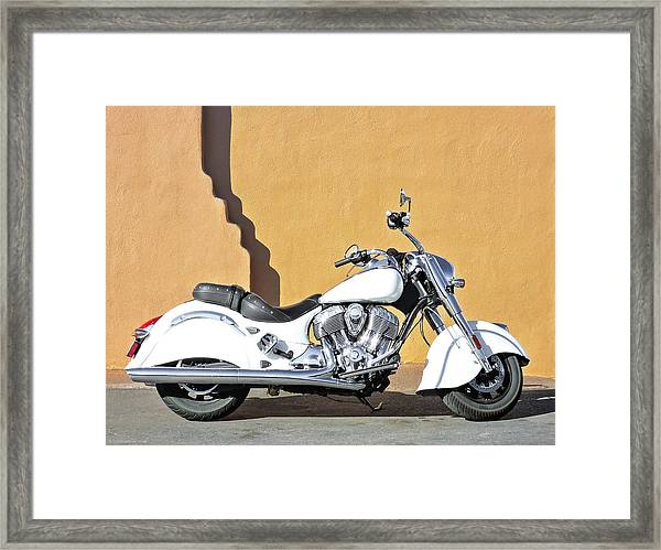 Framed Print featuring the photograph White Indian Motorcycle by Britt Runyon