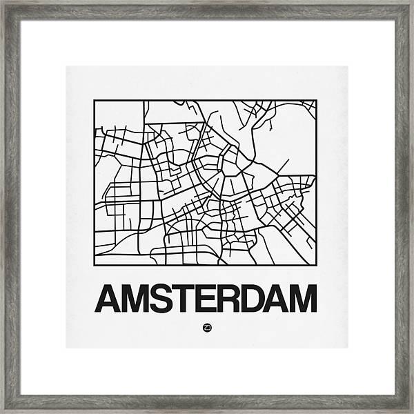 White Map Of Amsterdam Framed Print