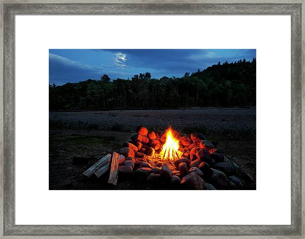 White Mountains Moonlit Campfire Framed Print