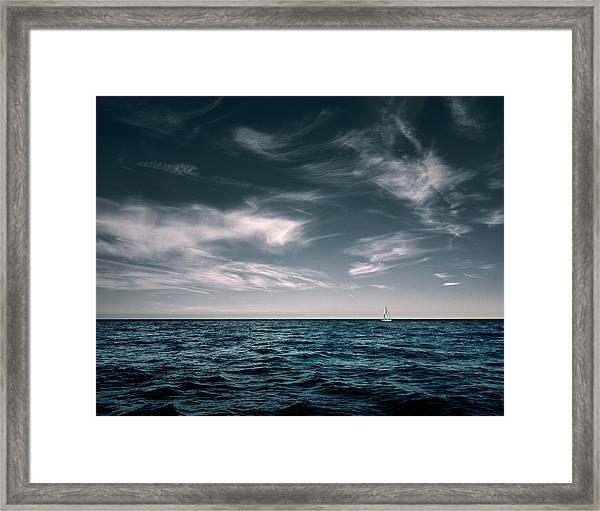 White Sail Boat On Sea Framed Print