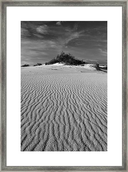 White Sands New Mexico Waves In Black And White Framed Print