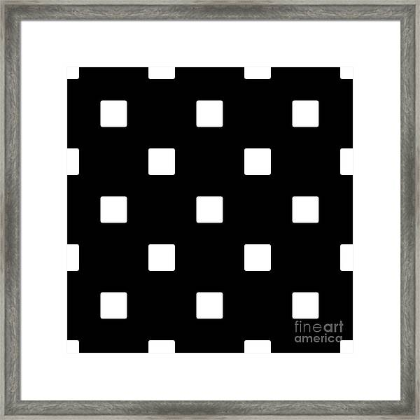 White Squares On A Black Background- Ddh576 Framed Print