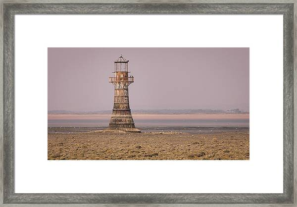 Framed Print featuring the photograph Whiteford Point Lighthouse In Pink by Elliott Coleman