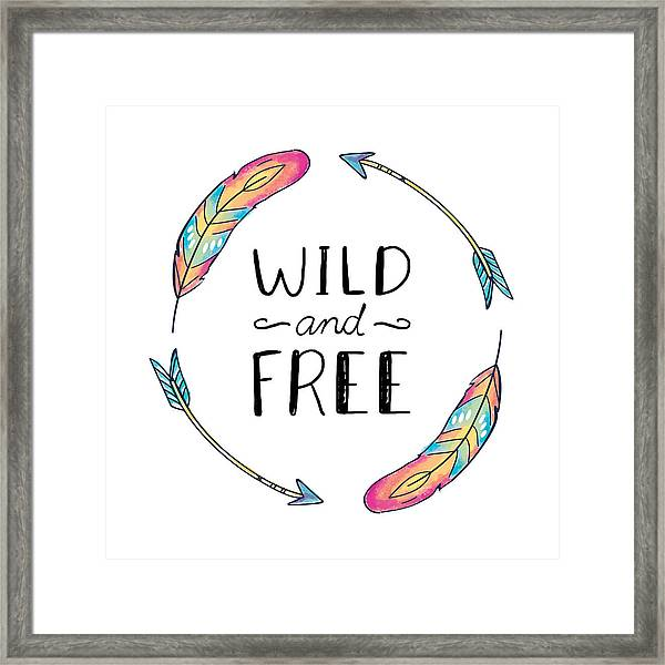 Wild And Free Colorful Feathers - Boho Chic Ethnic Nursery Art Poster Print Framed Print
