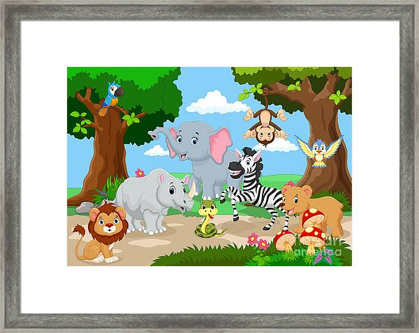 Wild Animal Playing In A Beautiful Framed Print