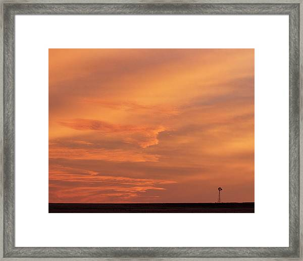 Framed Print featuring the photograph Windmill And Afterglow 02 by Rob Graham