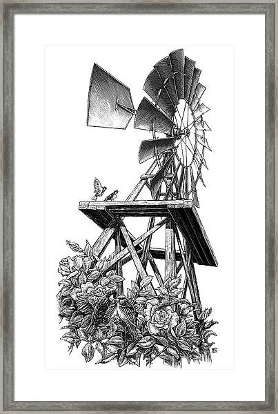 Framed Print featuring the drawing Windmill by Clint Hansen
