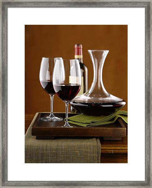 Wine On Tray Framed Print