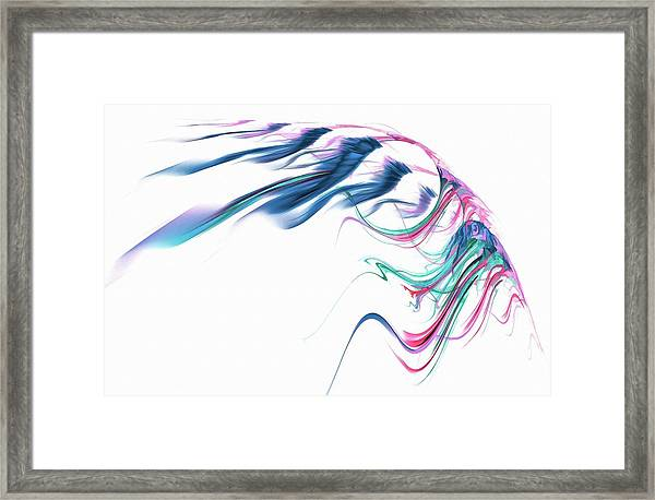 Wing Of Beauty Art Abstract Blue Framed Print