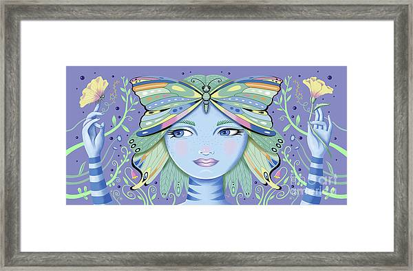 Insect Girl, Winga - Purple Framed Print