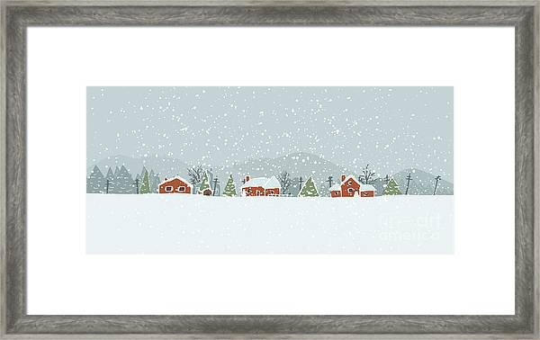 Winter Background With A Peaceful Framed Print
