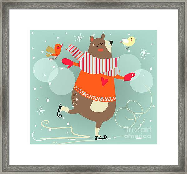 Winter Cartoon Bear Framed Print