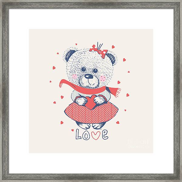 Winter Girl Bearhand Drawn Vector Framed Print