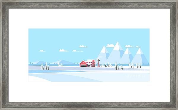 Winter Landscape Background.  Flat Framed Print