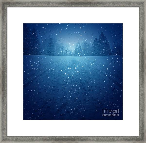 Winter Landscape Concept As A Snowing Framed Print