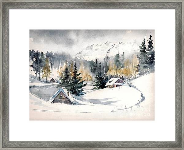 Winter Landscape With Mountain Village Framed Print