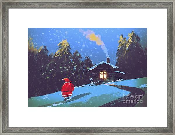 Winter Landscape With Santa Claus And Framed Print
