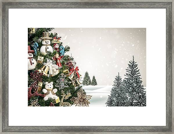Winter Landscape With Snowy Fir Trees Framed Print