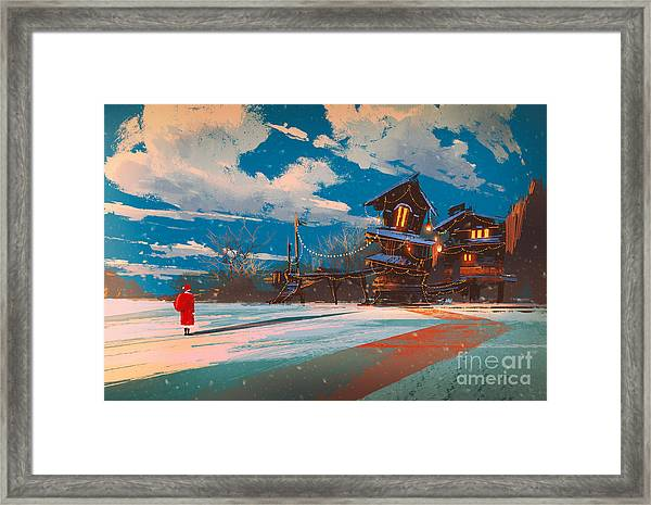 Winter Landscape With Wooden House At Framed Print