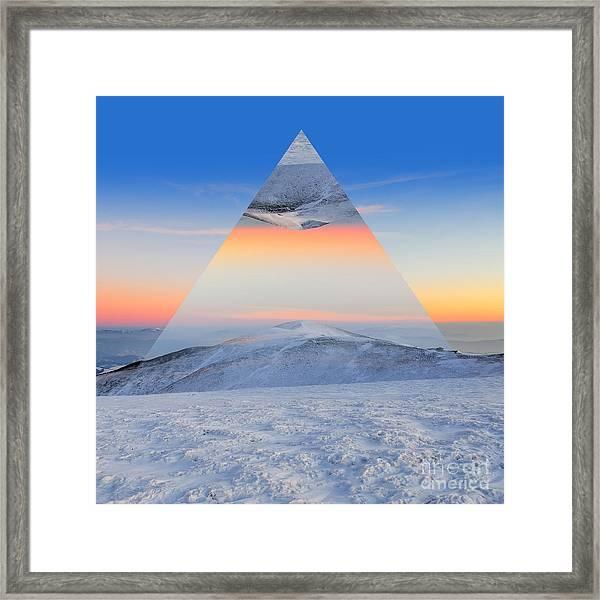 Winter Mountain Landscape At Sunset Framed Print