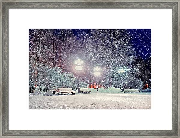 Winter Night Landscape -  Evening In Framed Print by Marina Zezelina