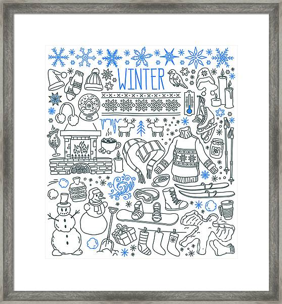 Winter Season Themed Doodle Set - Framed Print