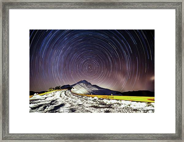 Winter Snow Road With Star Trails In Framed Print