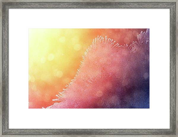 Winter Sunrise Through Icy Window Framed Print by Mammuth