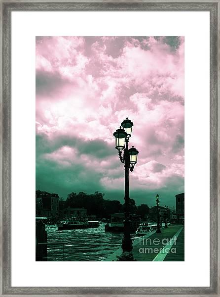 Winter Venice Lantern On The Embankment Framed Print
